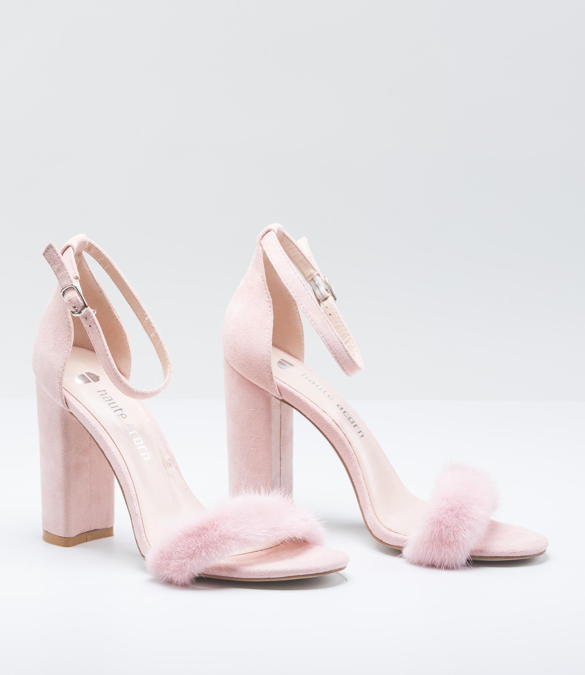 Pink Mink Fur Heels . Made of 100% Real