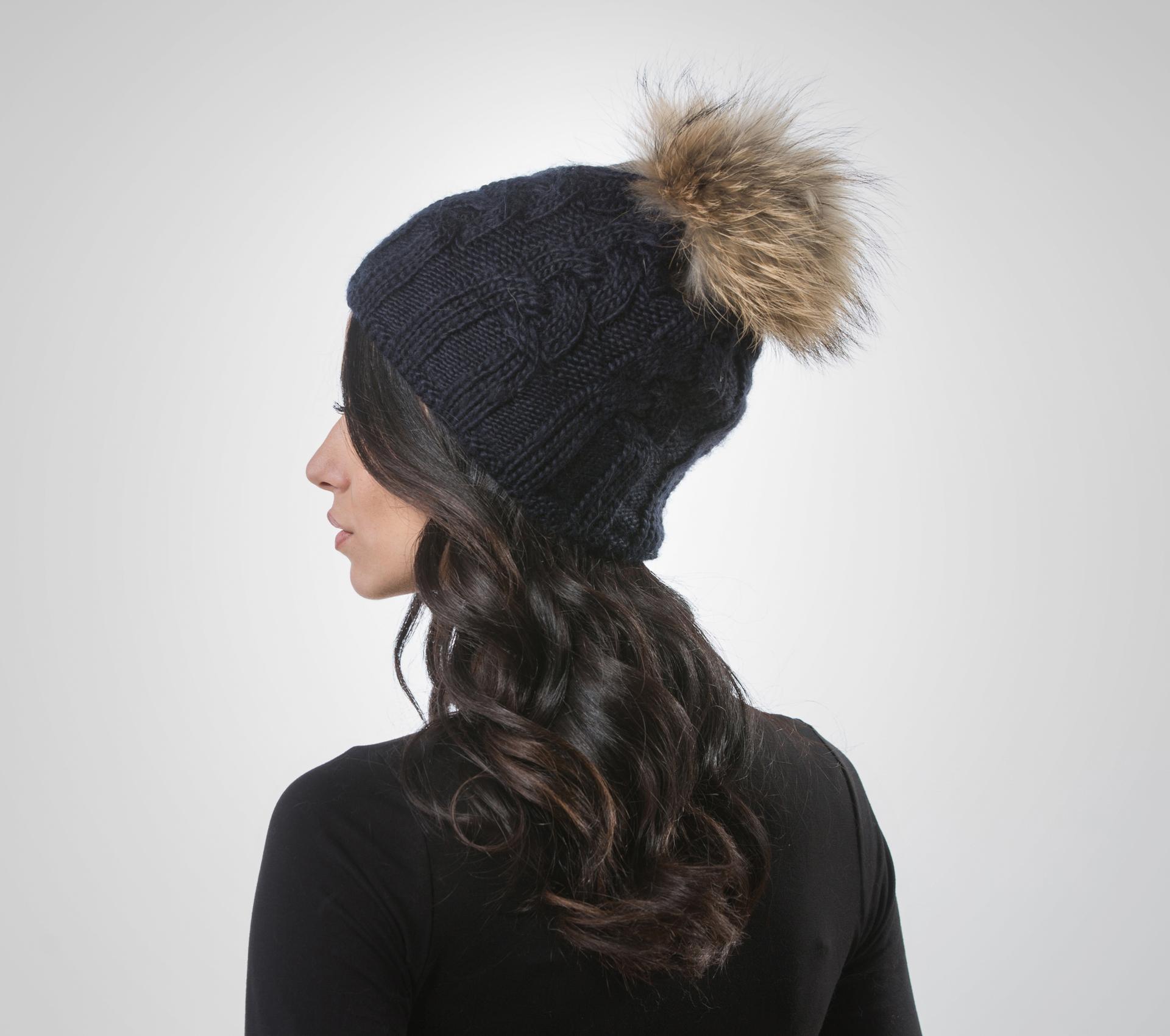 Dark Blue Beanie Raccoon Pom Pom .100% Real Fur Hats - Haute Acorn 0e320e63253