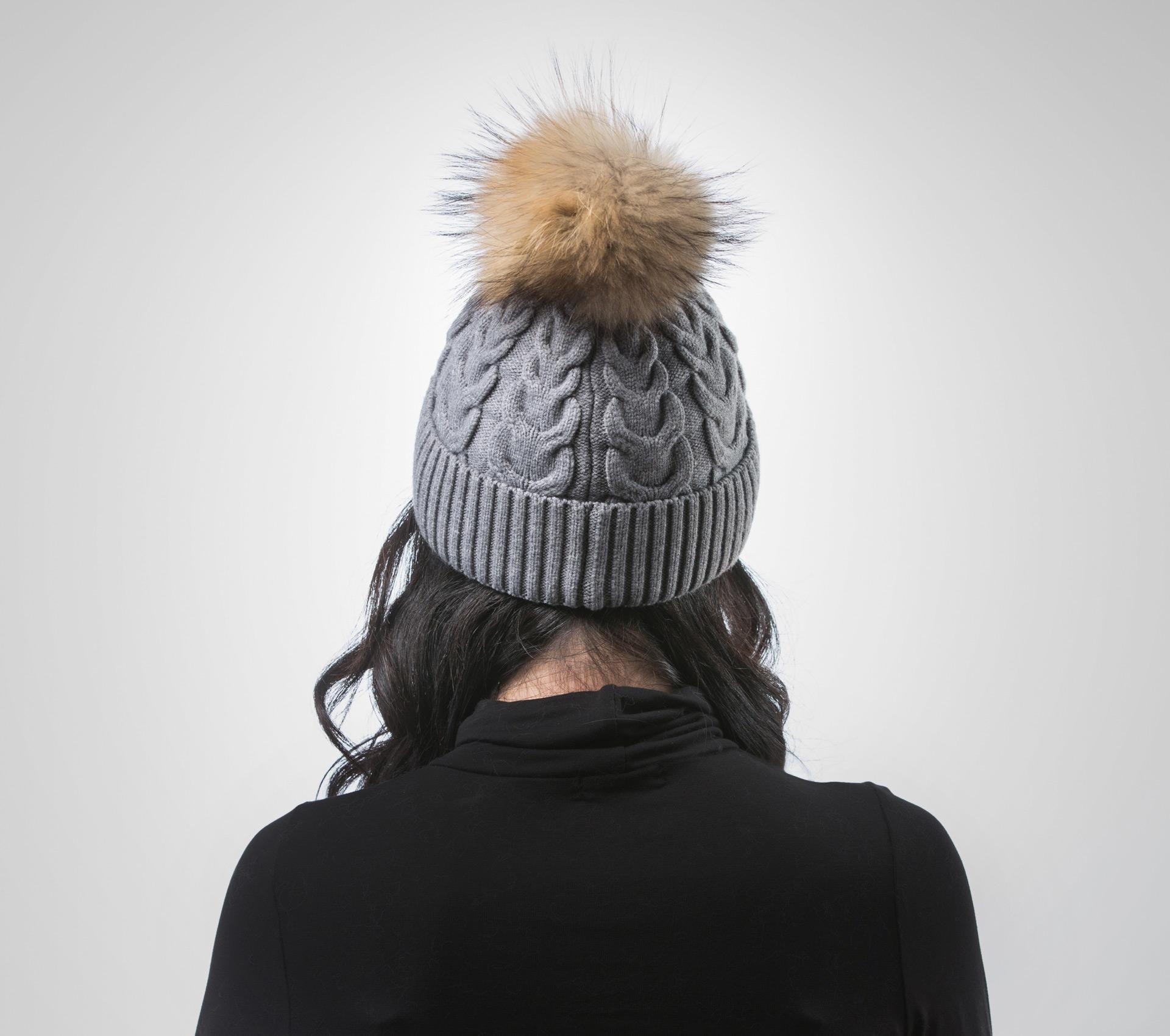 8167cfbe840 Gray Beanie With Raccoon Pom Pom . 100% Real Fur Hats- Haute Acorn