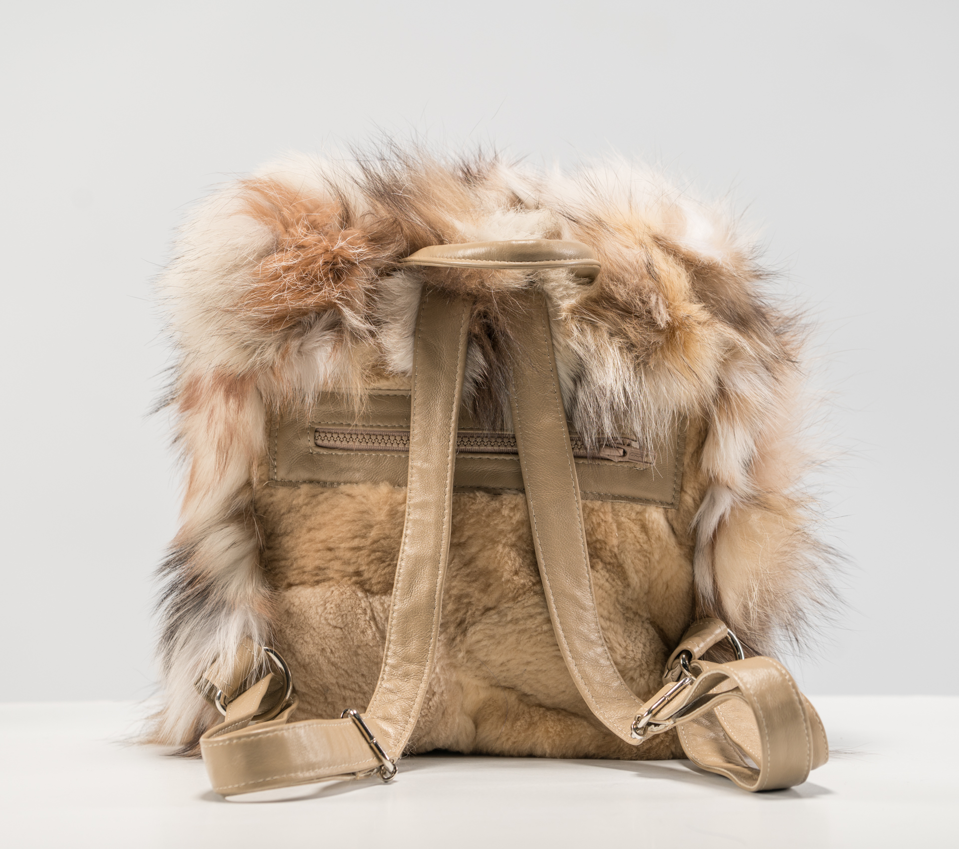 Real fur backpack  fox backpack  fur and leather backpack  luxury fur backpack