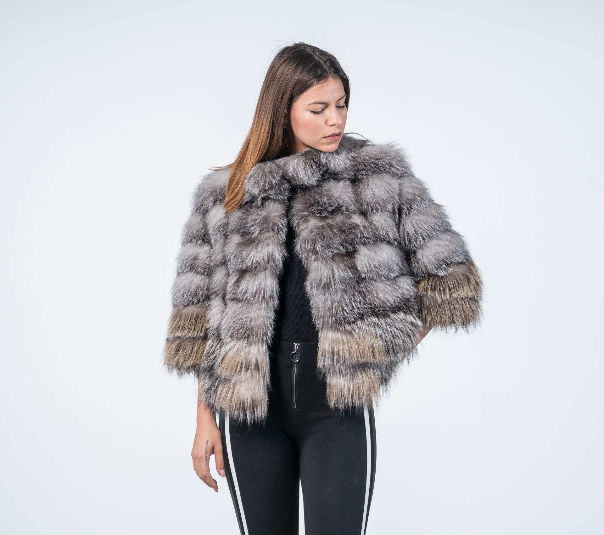ccfa0d2bd6 Blue Frost Fox Fur Coat - 100% Real Fur - Haute Acorn