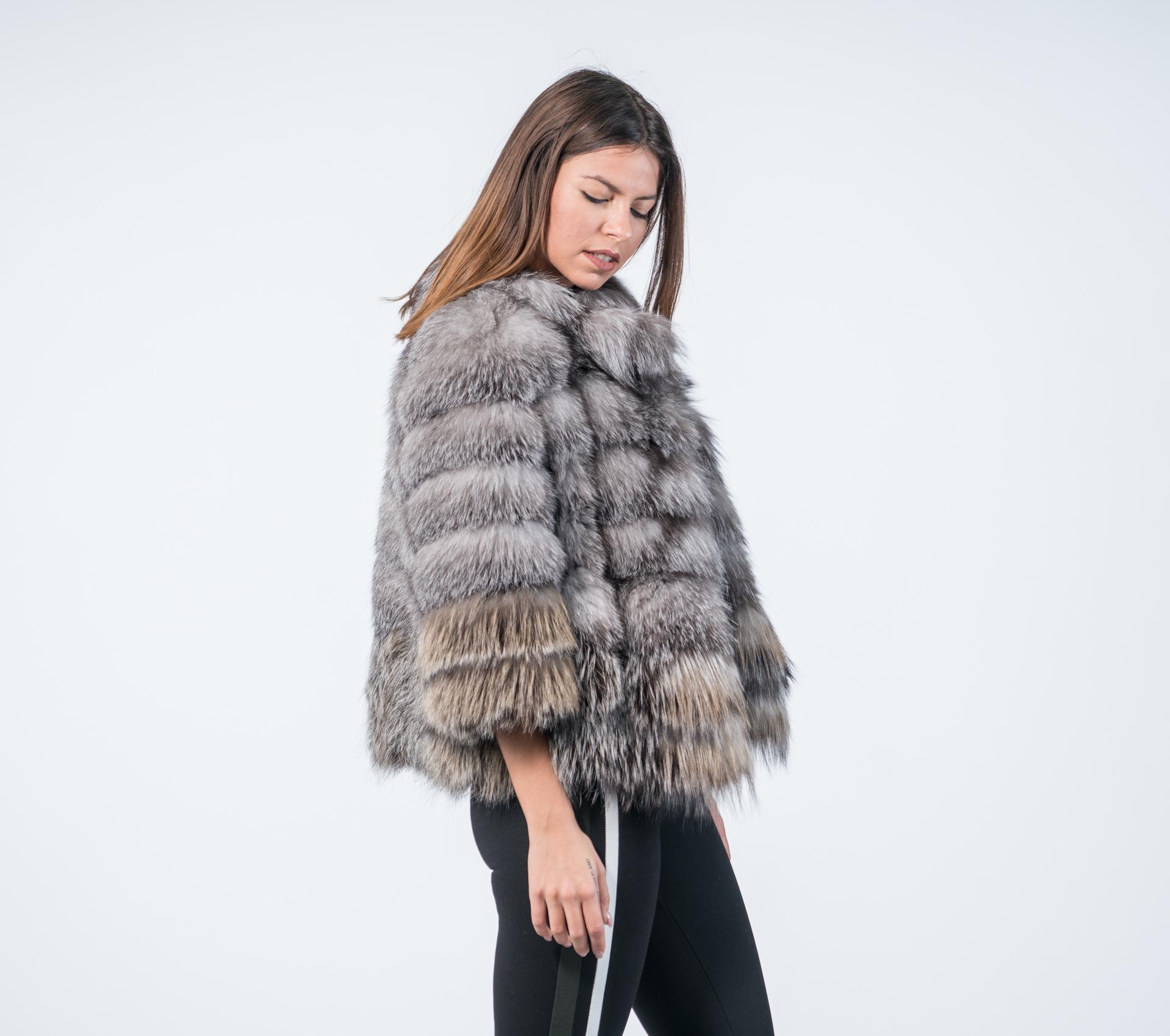 47383afbb91b Blue Frost Fox Fur Coat - 100% Real Fur - Haute Acorn