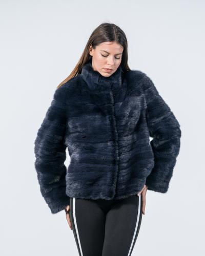 e226880eb25 Dark Blue Mink Fur Short Jacket ...