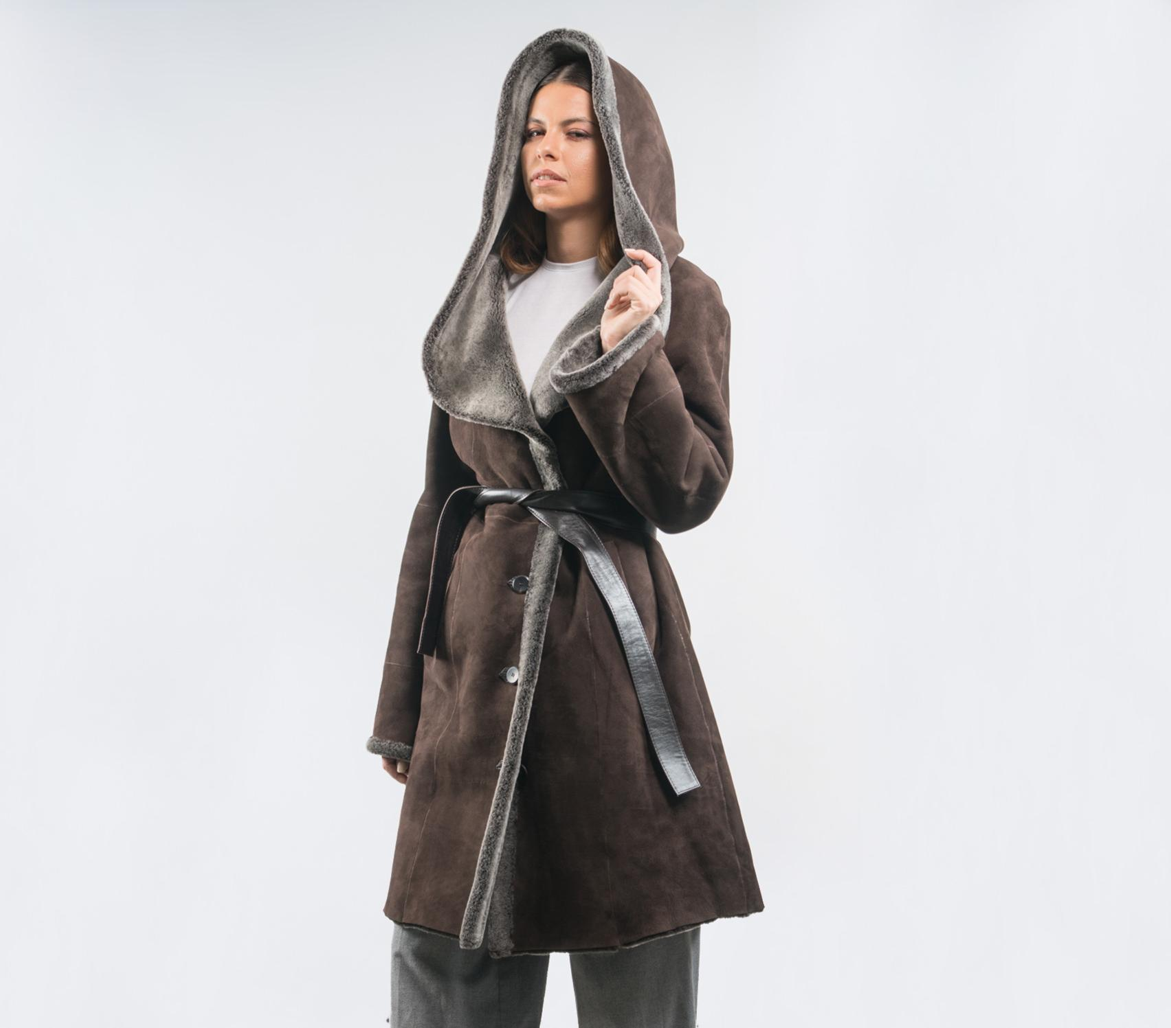 fda8d18138b Choco Brown Sheepskin Jacket With Hood - 100% Real Fur - Haute Acorn