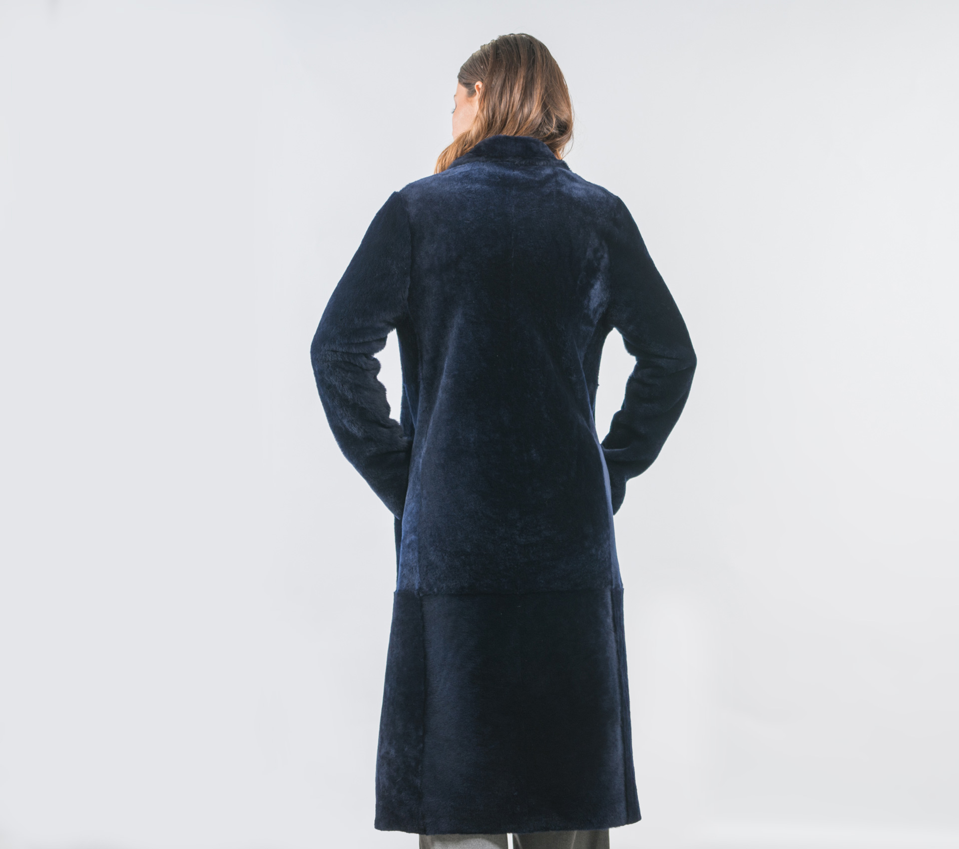 556ef9cca1b Dark Blue Sheepskin Coat- 100% Real Fur - Haute Acorn