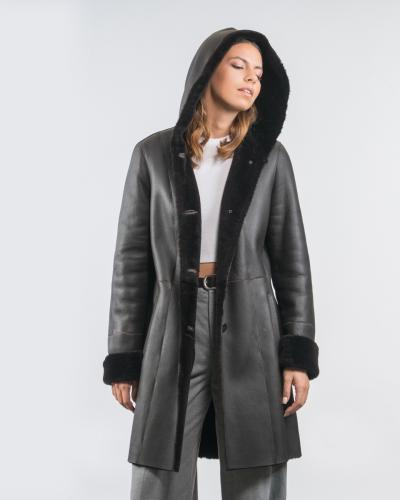 d39730cce46 Black Sheepskin Jacket With Hood ...