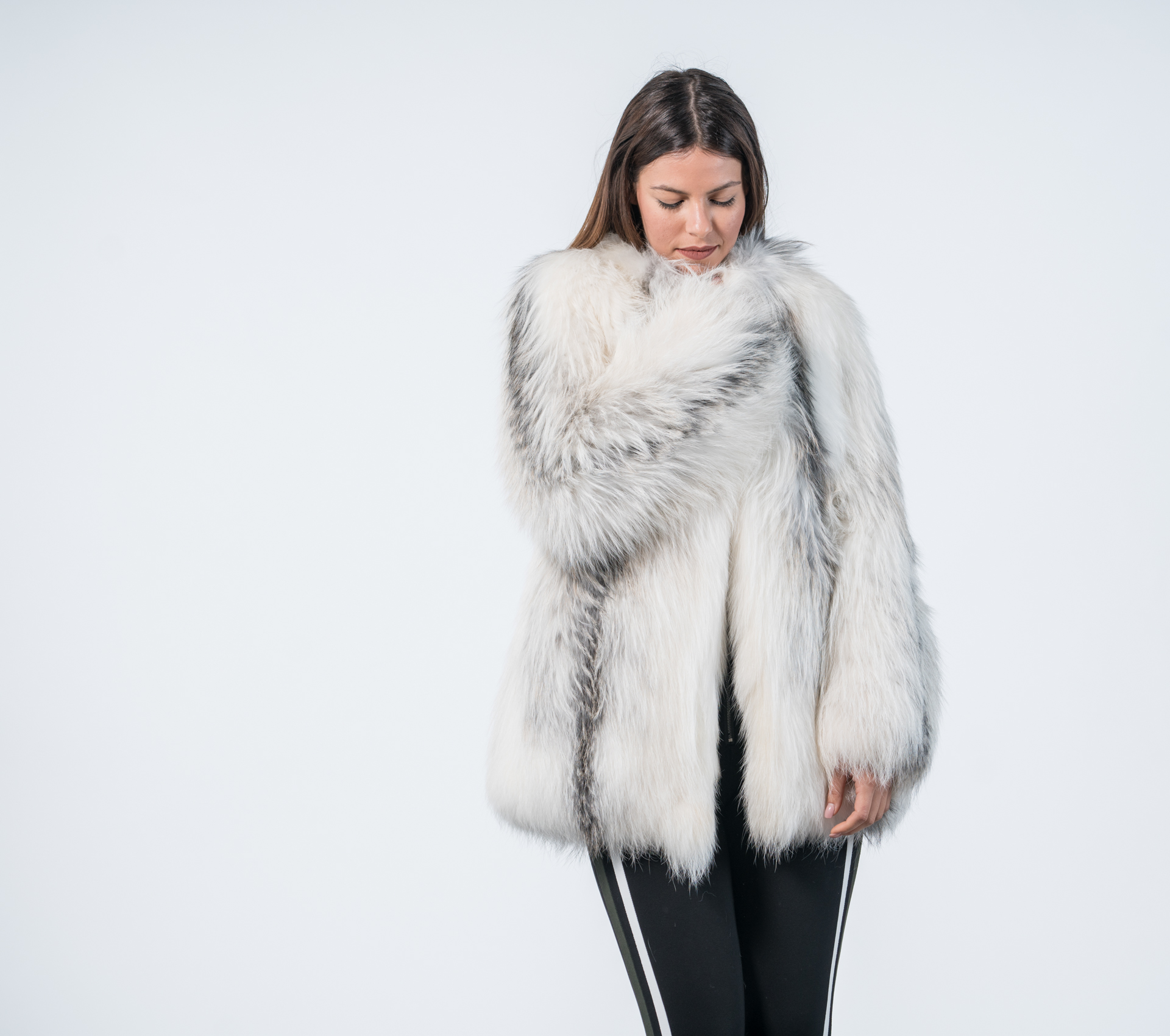 Marble Fox Fur Jacket 100 Real Fur Haute Acorn