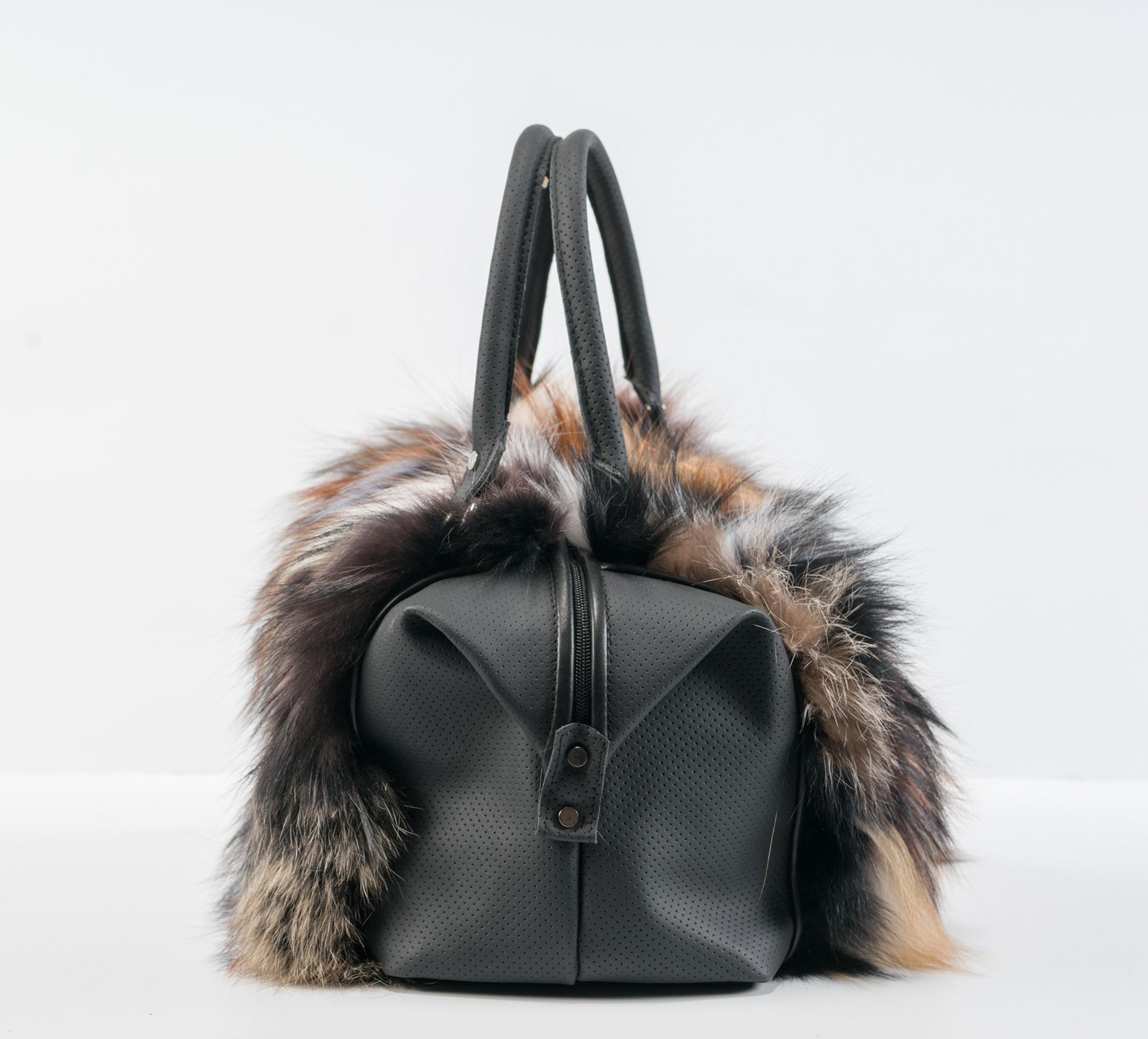 Multicolor Fox Fur Handbag - 100% Real Fur Coats - Haute Acorn 3d97031857753