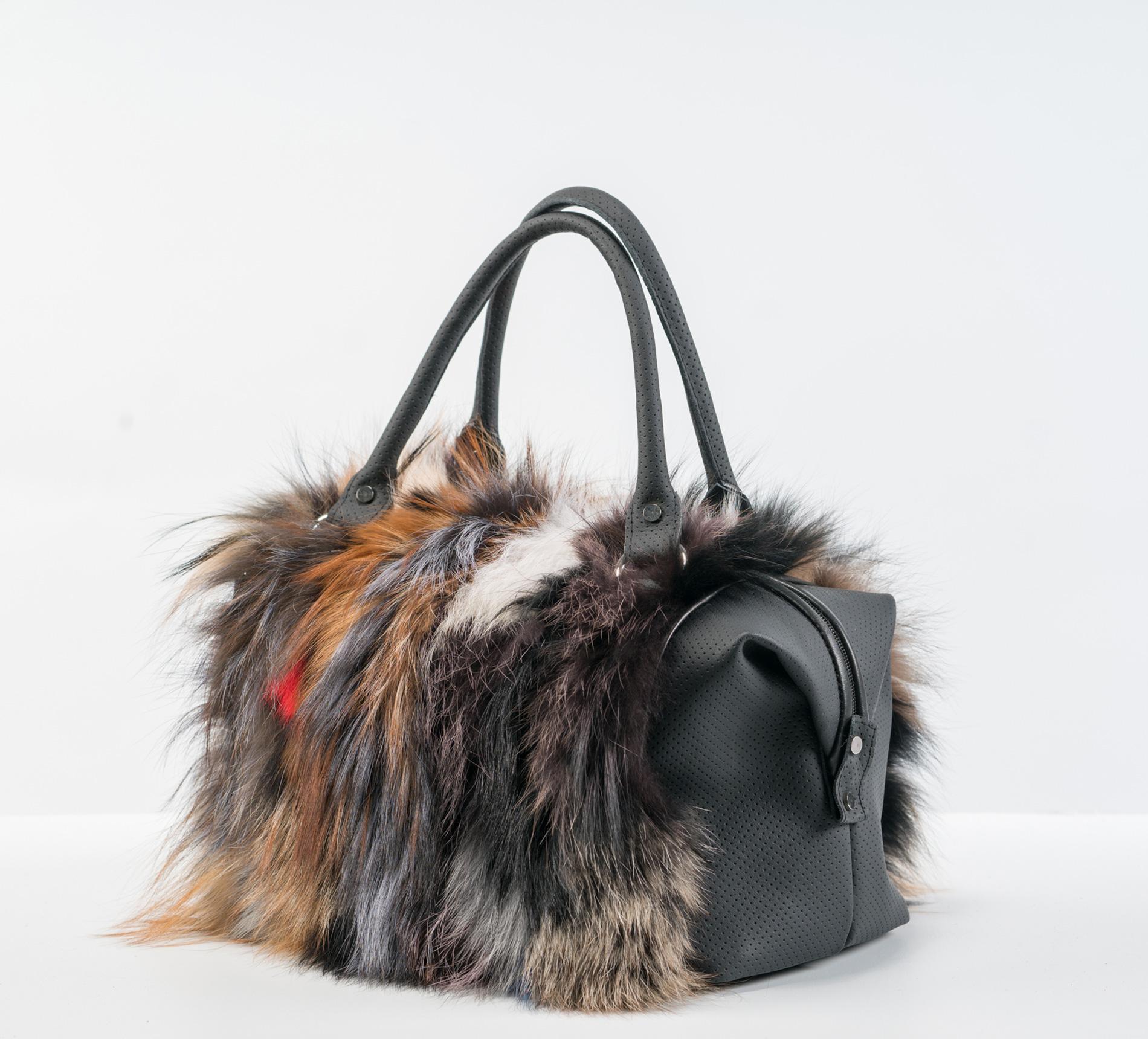 98c01ce9b275a Multicolor Fox Fur Handbag - 100% Real Fur Coats - Haute Acorn