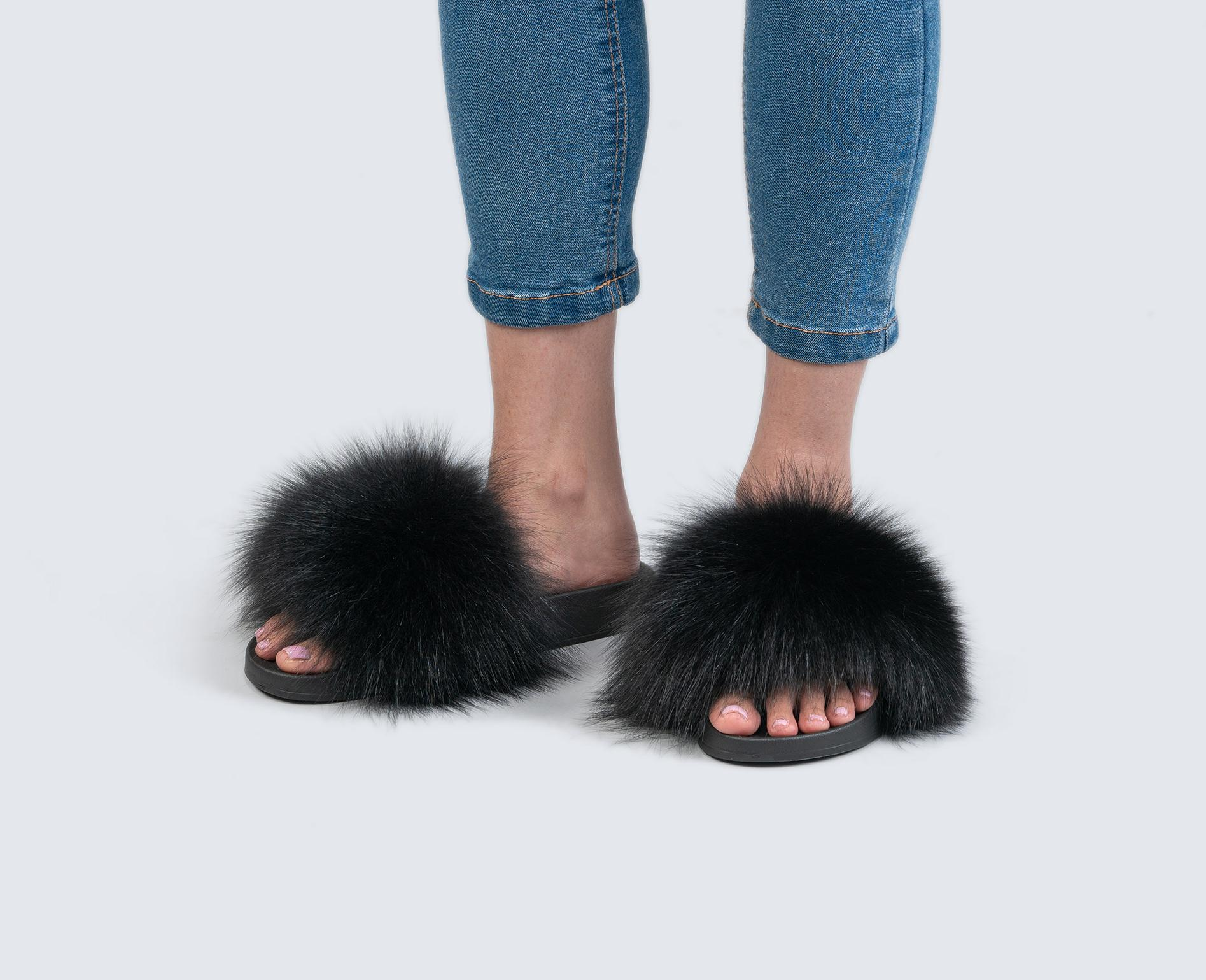 ae9297bca28 Black Fur Slides - Made of 100% Real Fur - All Sizes Available.