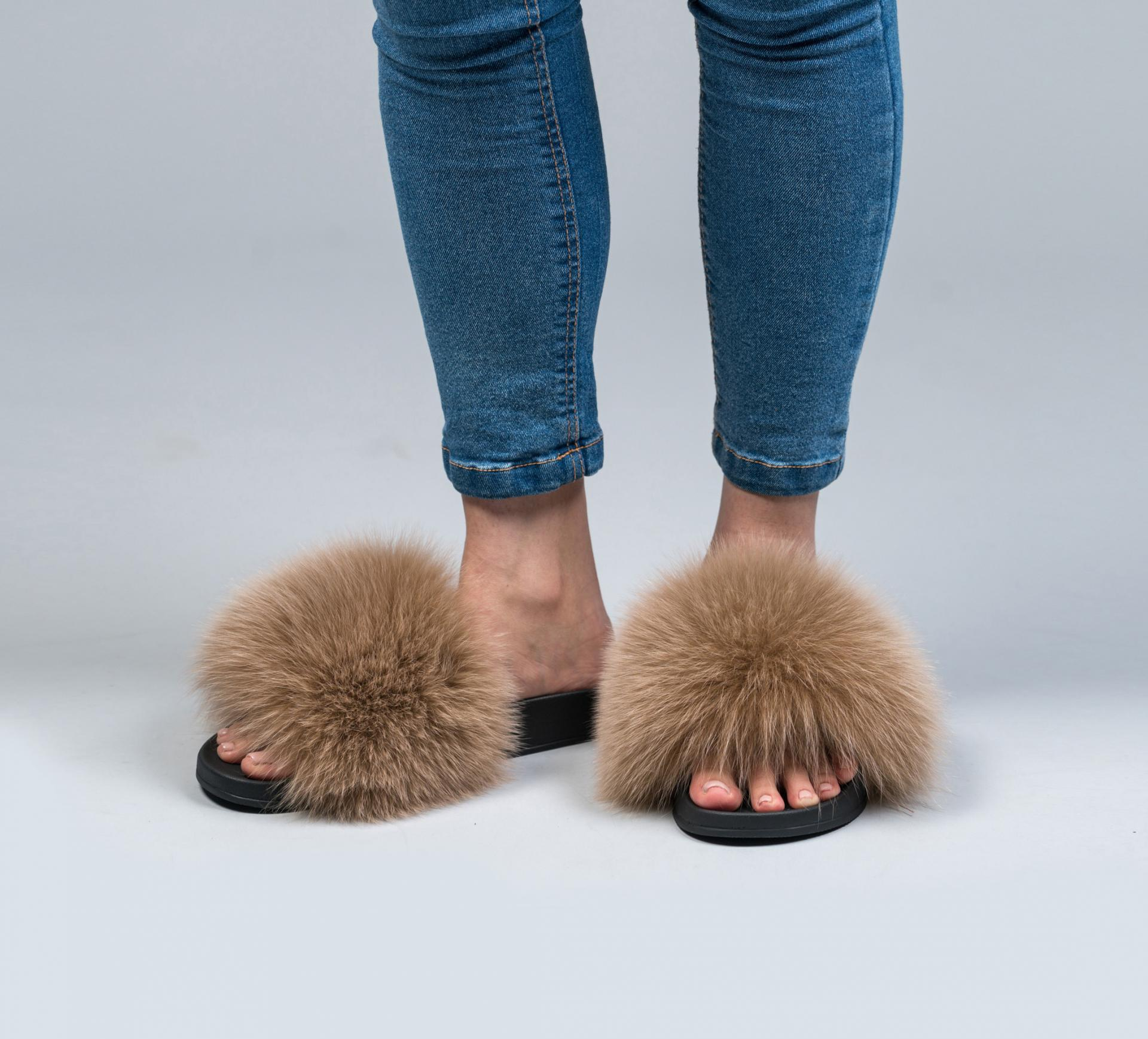 Acorn Fox Fur Slides Made Of 100 Real Fur All Sizes