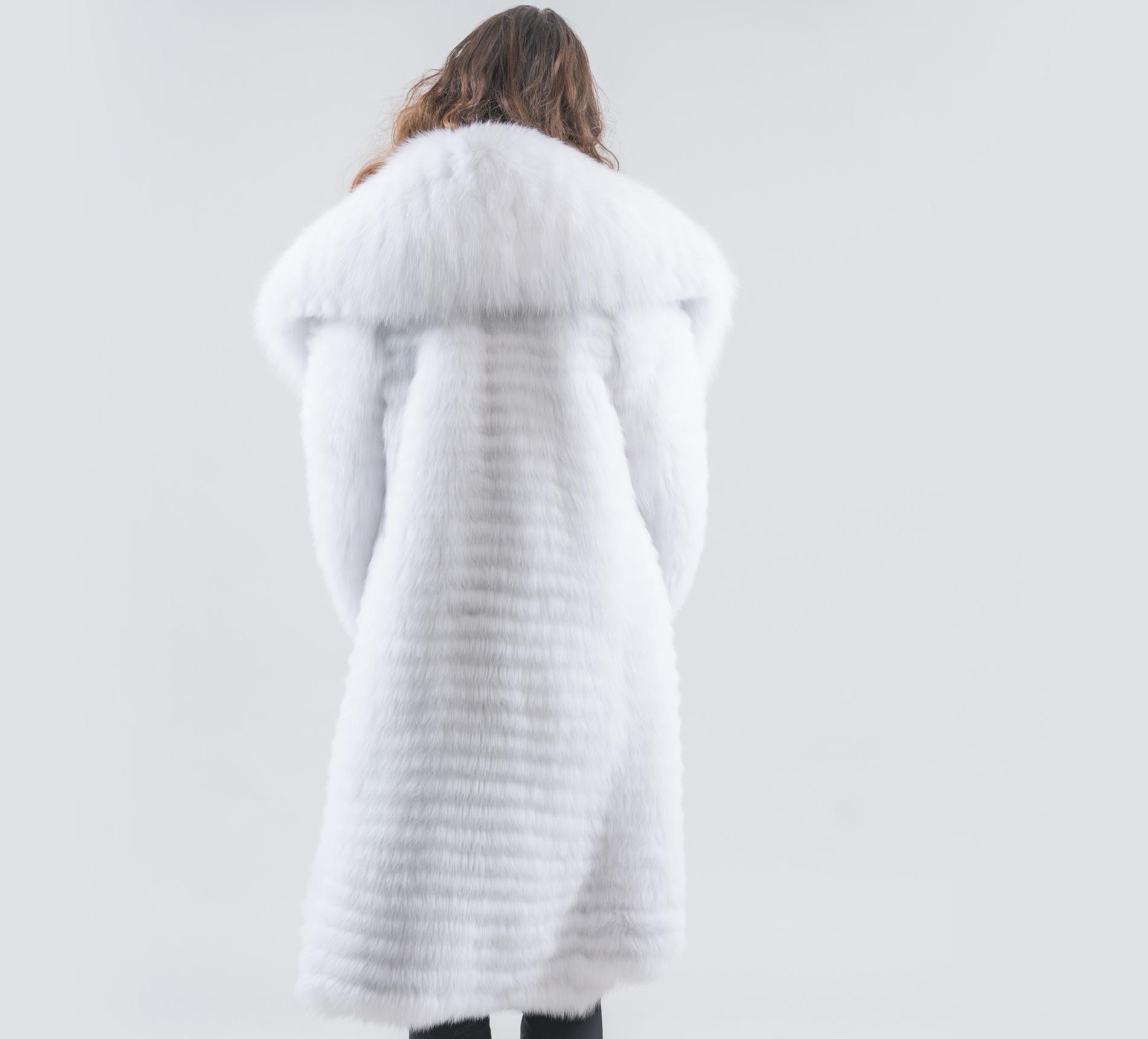 7678eef7dc White Fox Fur Jacket With Big Collar- 100% Real Fur - Haute Acorn