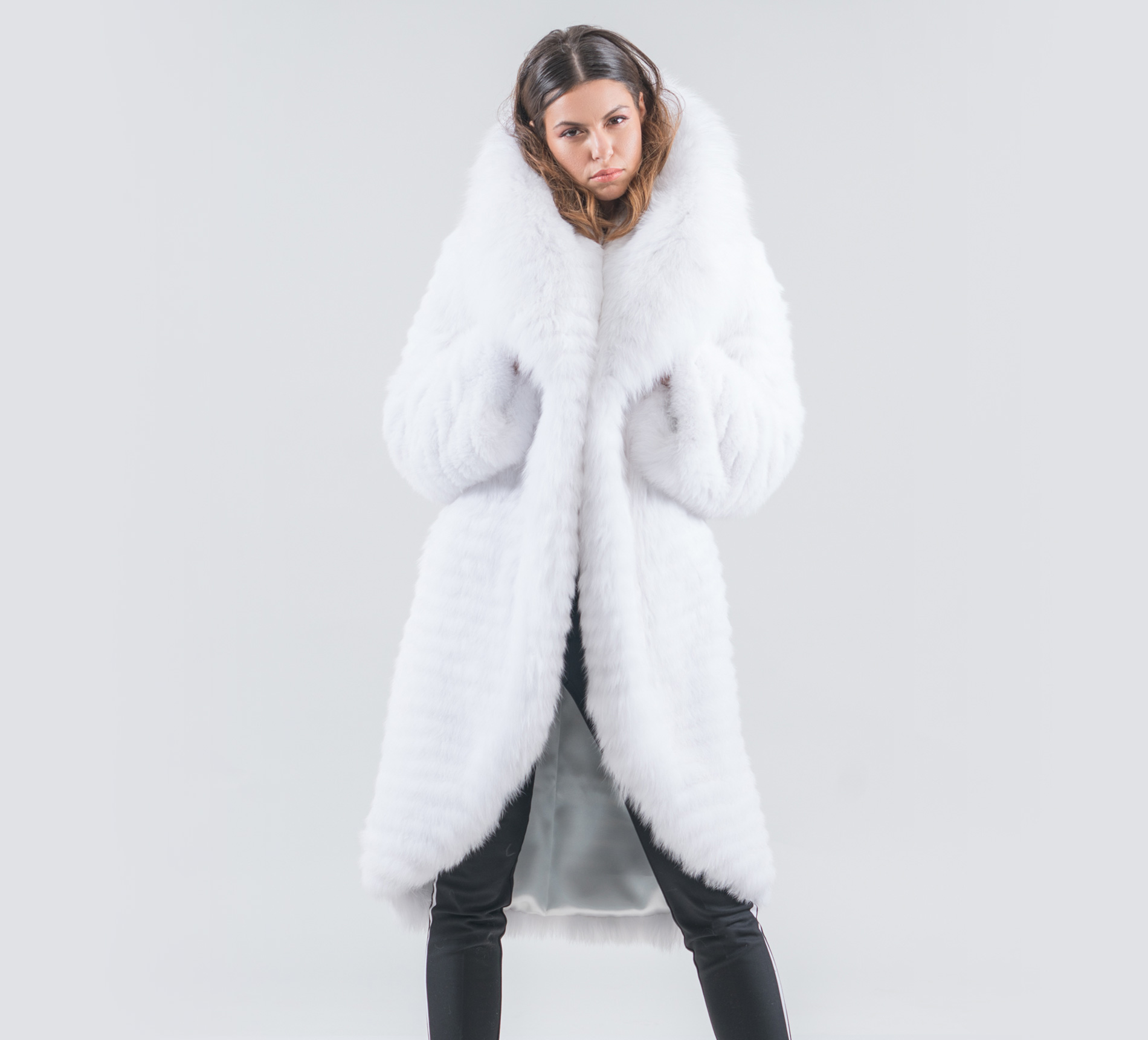 3d507f8406540 White Fox Fur Jacket With Big Collar- 100% Real Fur - Haute Acorn