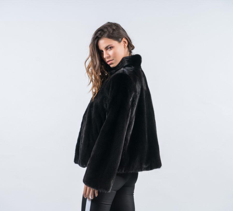 Black Mink Short Fur Jacket 100 Real Fur Coats Haute