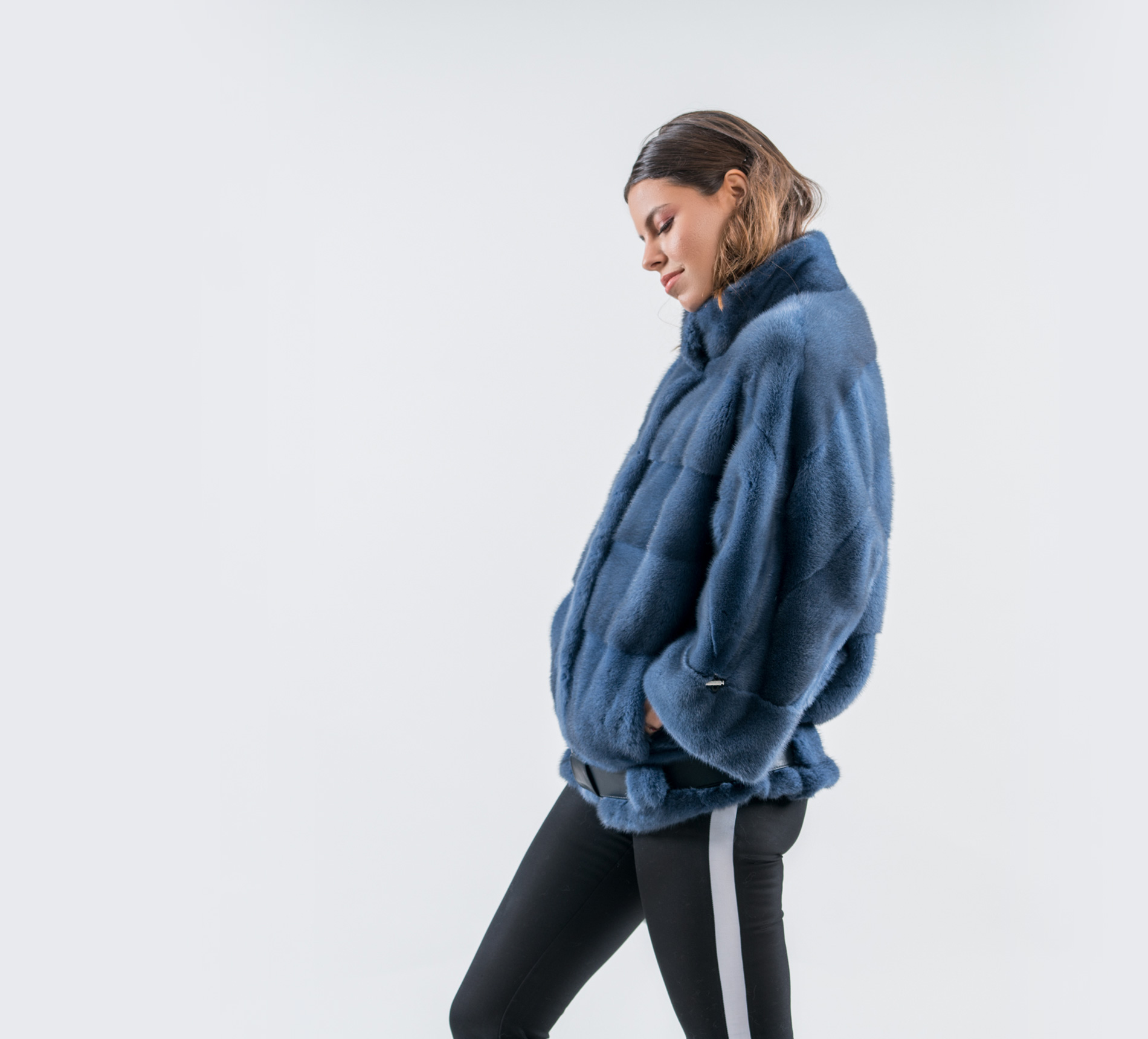 38d1d9b903d9 Royal Blue Mink Fur Coat - 100% Real Fur Coats - Haute Acorn