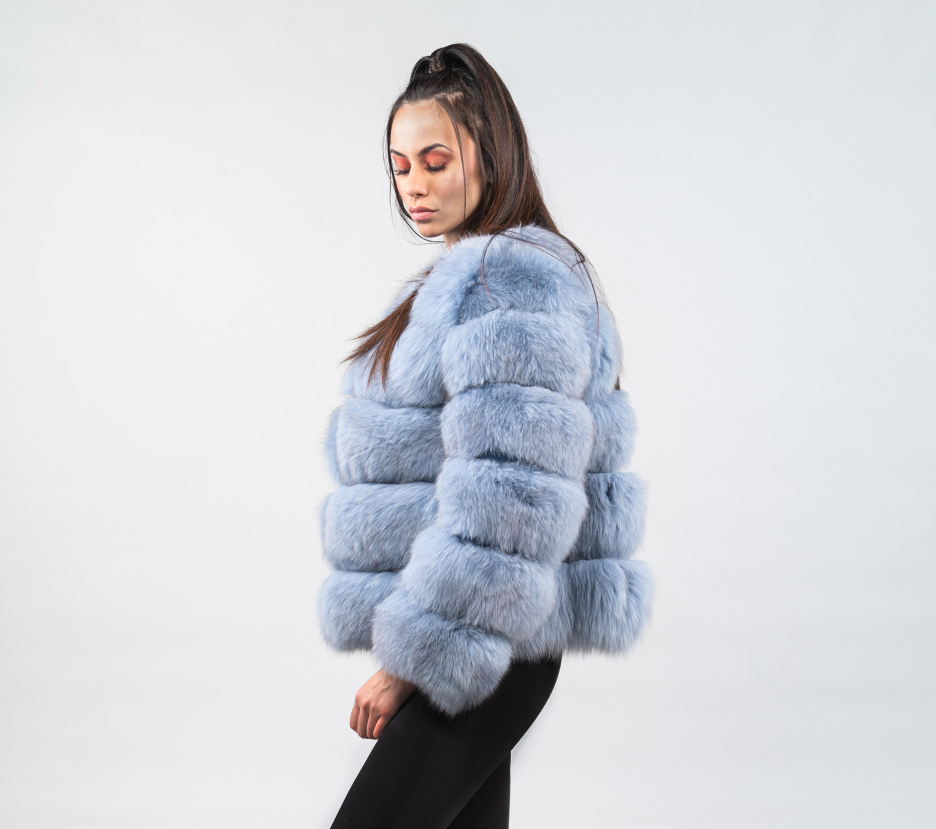 cheaper sale factory authentic various kinds of Sky Blue Fox Fur Jacket