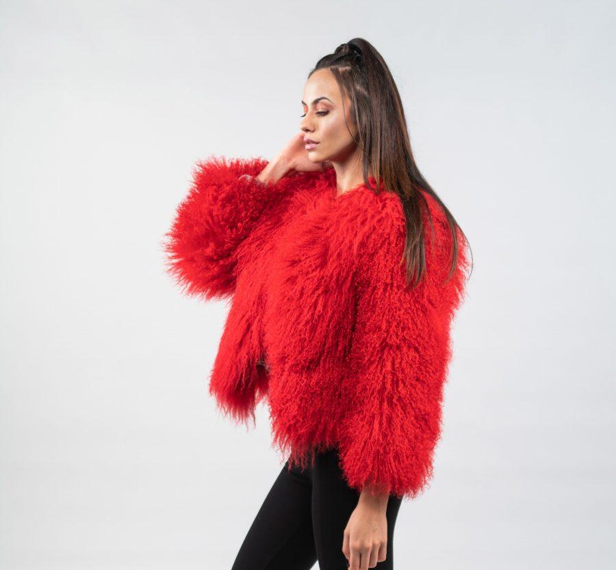 Red Mongolian Lamb Fur Jacket 100 Real Fur Haute Acorn