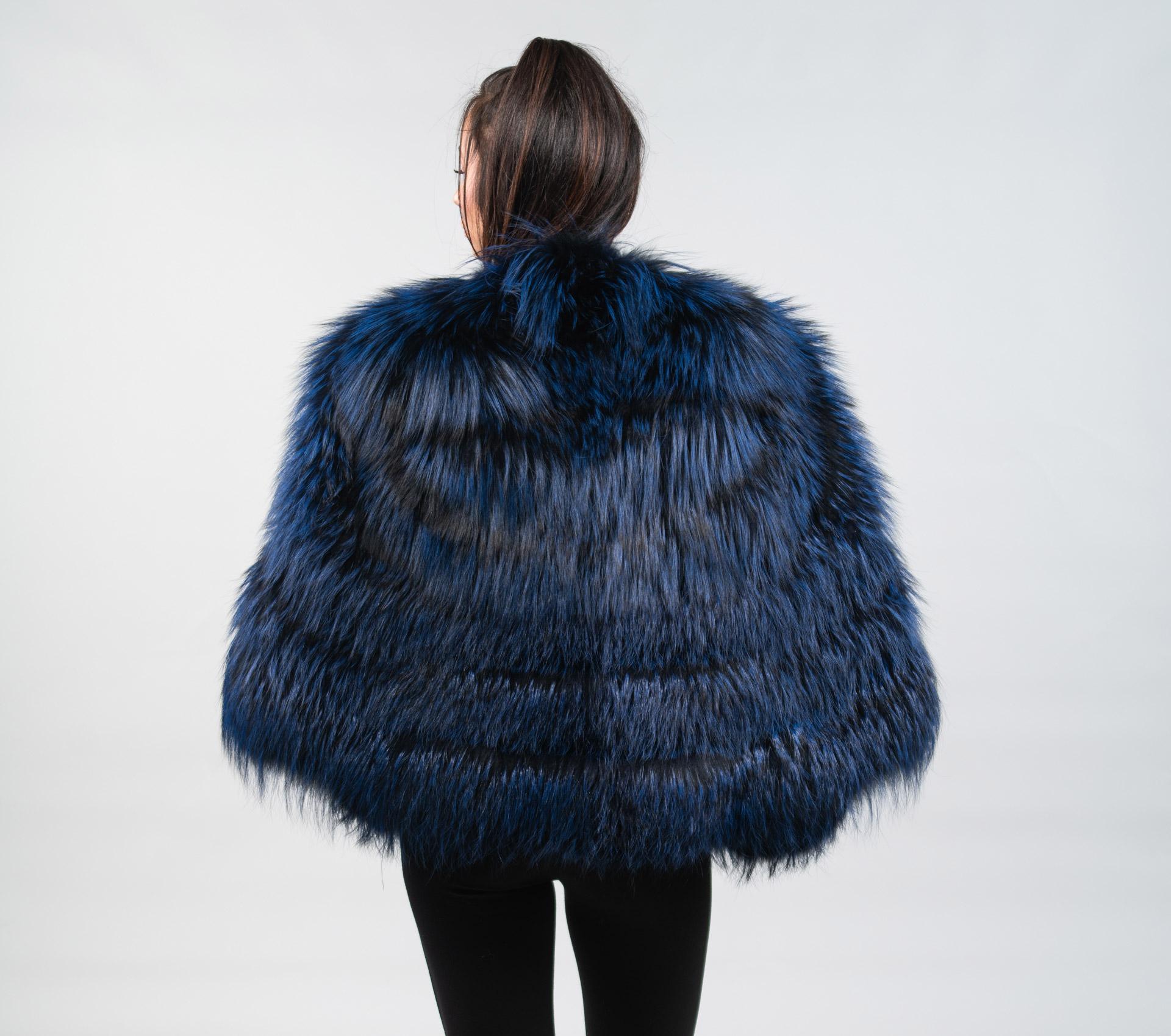 670ae71ef Sailing Ocean Fox Ocean Fox: Ocean Blue Fox Fur Cape . 100% Real Fur Coats-  Haute