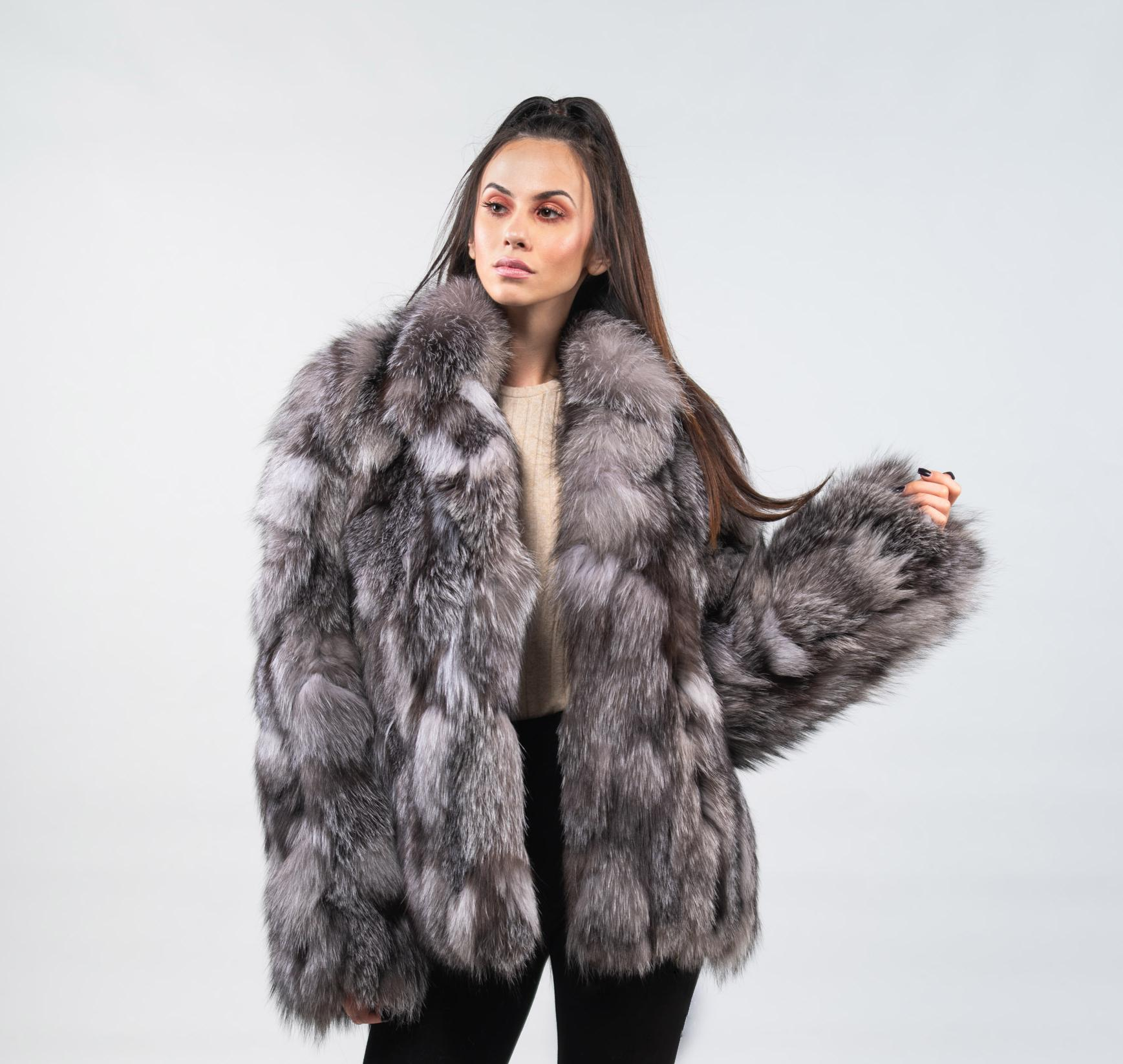 fa8d2dce7d Blue Frost Fox Fur Jacket -100% Real Fur - Haute Acorn