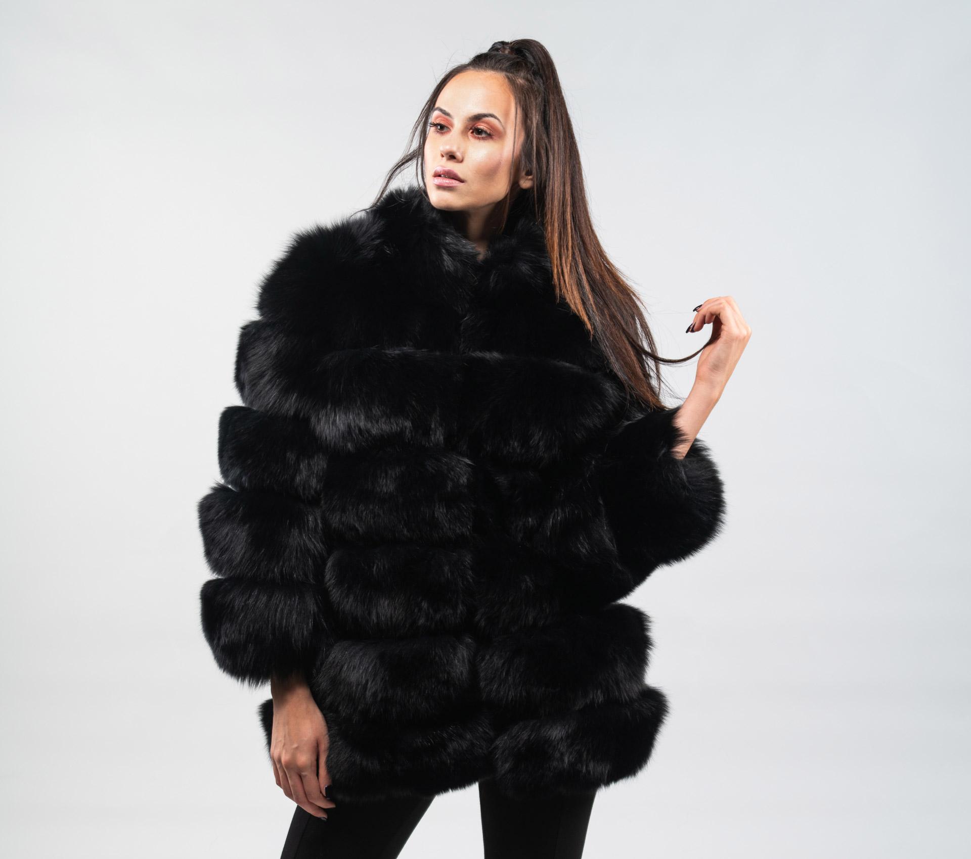 10abfa947 Black Fox Fur Jacket With 7/8 Sleeves-100% Real Fur - Haute Acorn