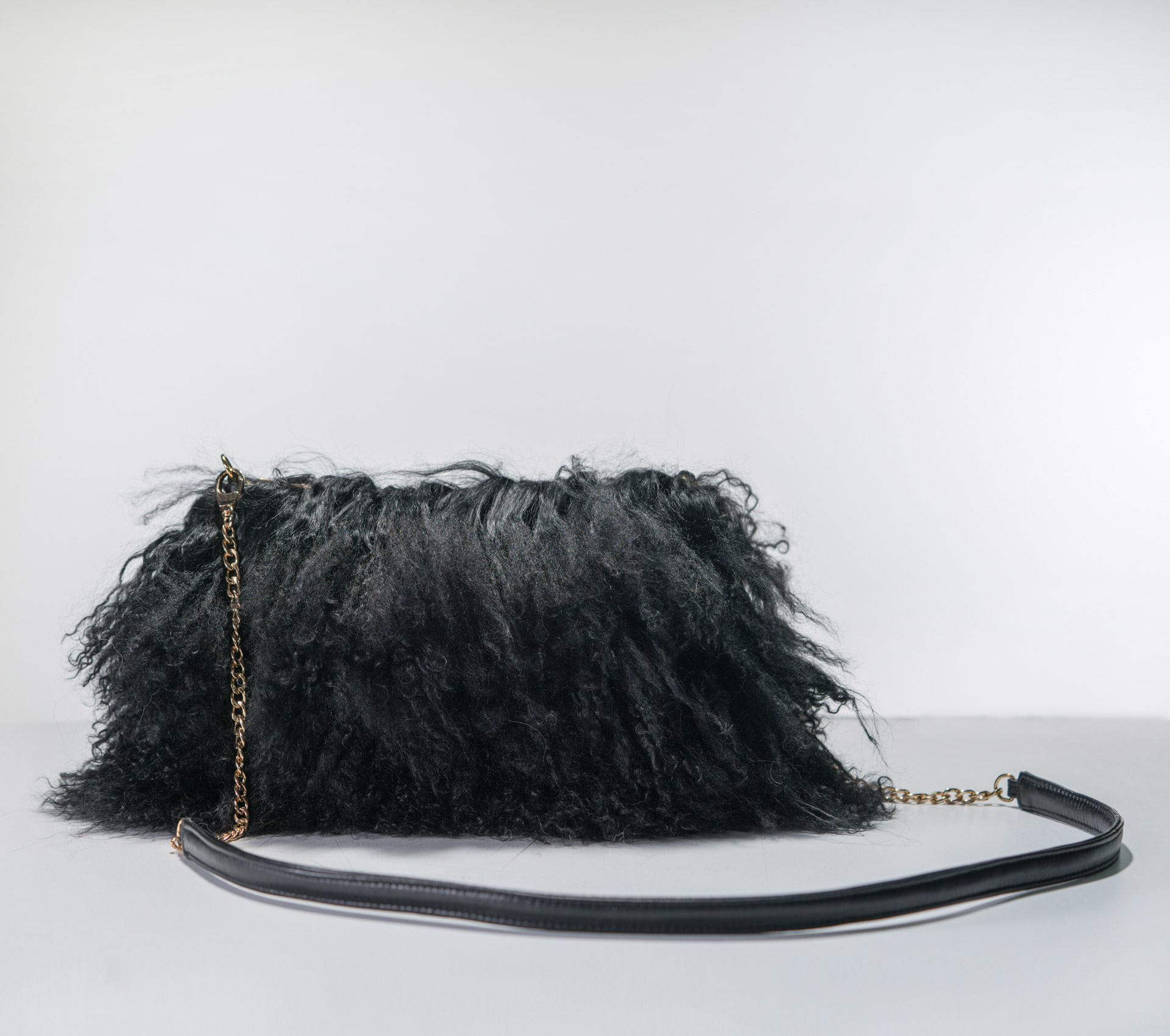 Black Mongolian Lamb Fur Bag- 100% Real Fur Coats - Haute Acorn f155cdc69b7ab