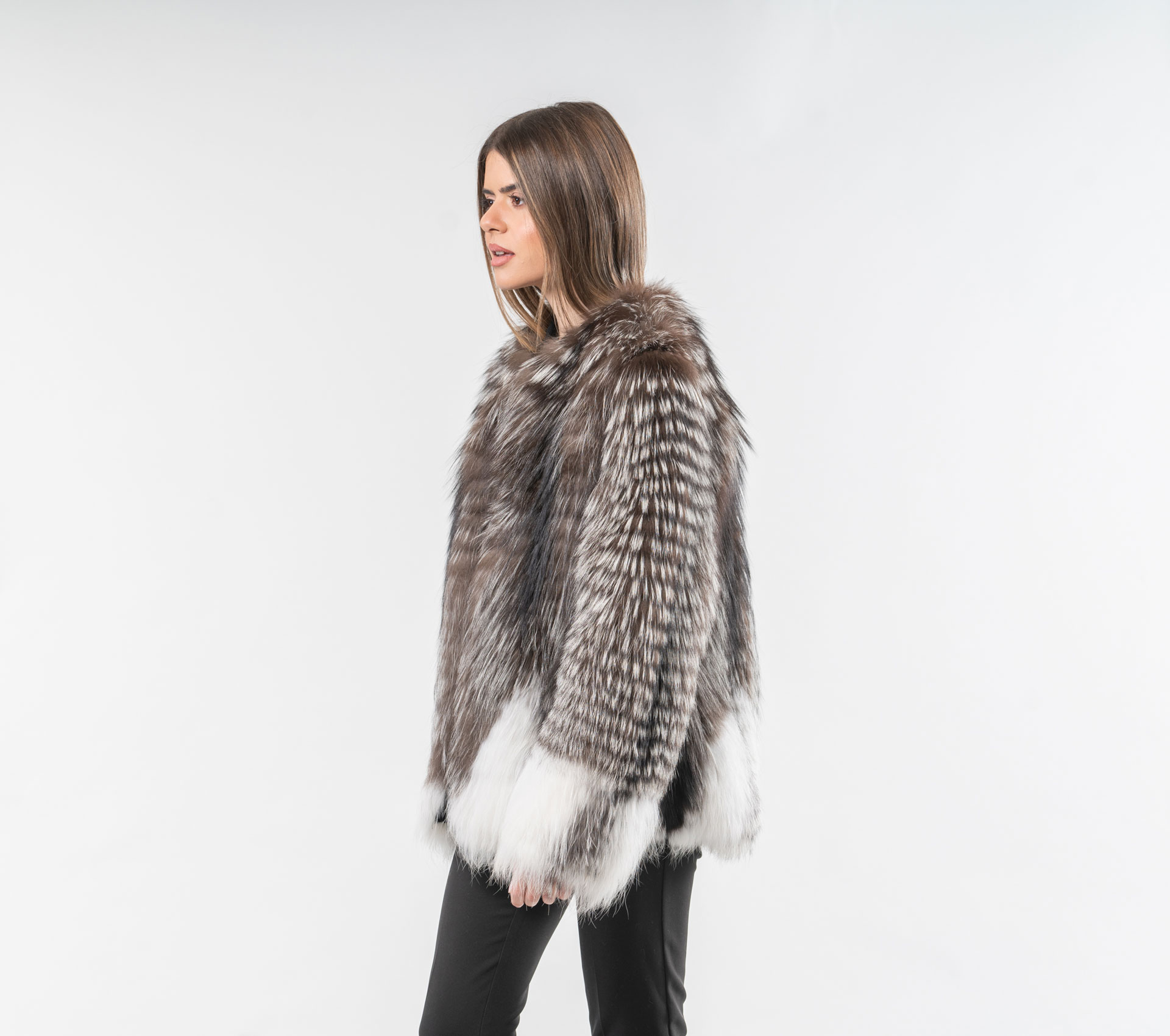 1675dda31 White and Brown Fox Fur Jacket - Made of Real Fox Fur-Haute Acorn